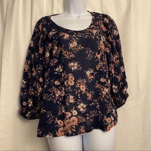 Lucky Brand Floral Long With Long Peasant Sleeves